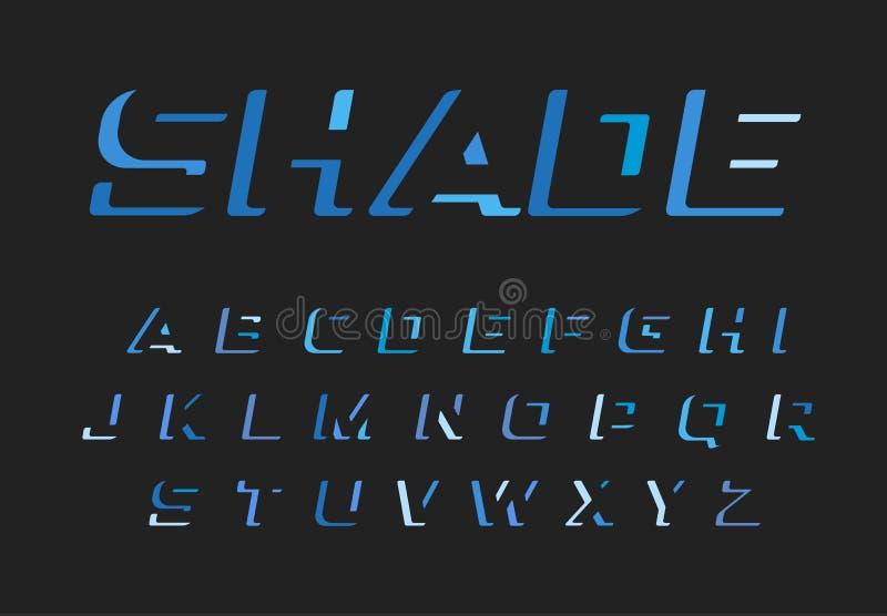 Blauer Buchstabesatz Lateinisches Alphabet des Vektors Dunkelheitsfarbguß Negatives Raummonogramm des Ausschnitts und Logoschablo lizenzfreie abbildung