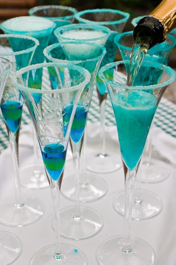 Blauer Champagner stockbilder