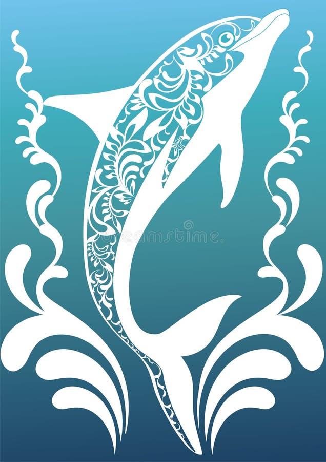 Blauer dekorativer Delphin vektor abbildung