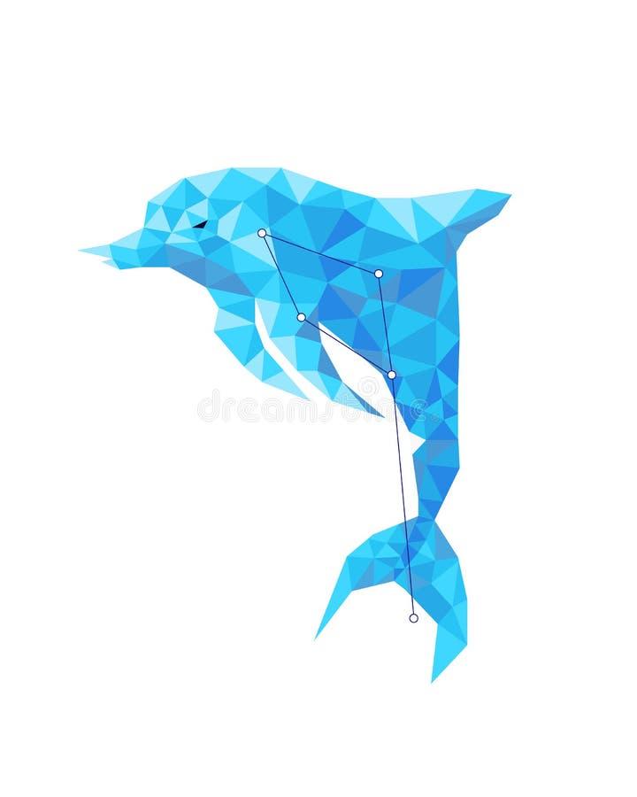 Blauer Delphin der Konstellation mit Sternen in Form eines Tieres stock abbildung