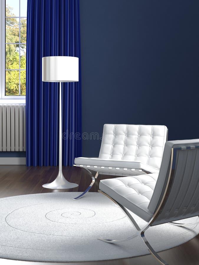 Blauer der Innenarchitektur klassischer und weißer Raum vektor abbildung