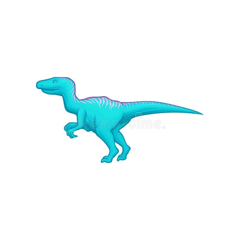 Blauer Dinosaurier mit dem langen Schwanz, den kurzen Vorder- und langen Hintergliedern Riesiges prähistorisches Reptil Tier der  vektor abbildung