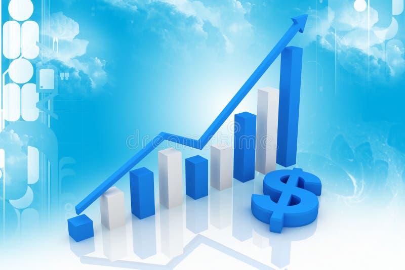 Blauer Dollar und Diagramm vektor abbildung