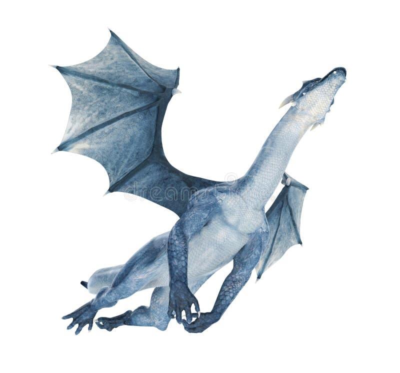 Blauer Drache, der heraus fliegt lizenzfreie abbildung