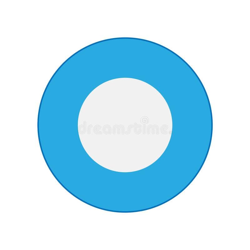 Blauer Draufsichtentwurfsmittagessenküche-Zeichenvektor der Schüssel Farbkeramische lokalisierte Teller-Plattenikone vektor abbildung