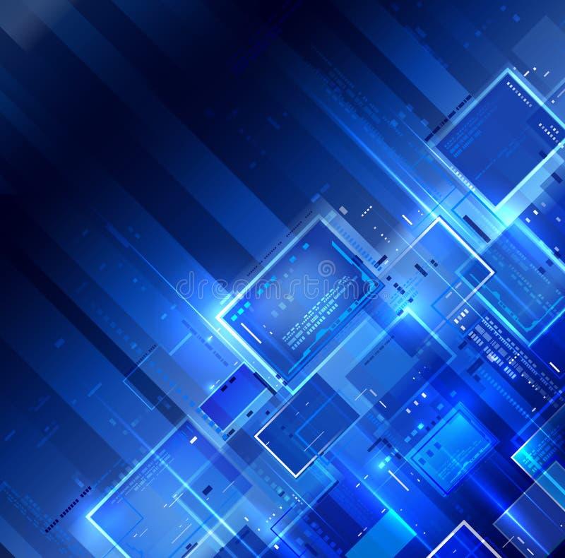 Blauer dunkler Technologiehintergrund stock abbildung