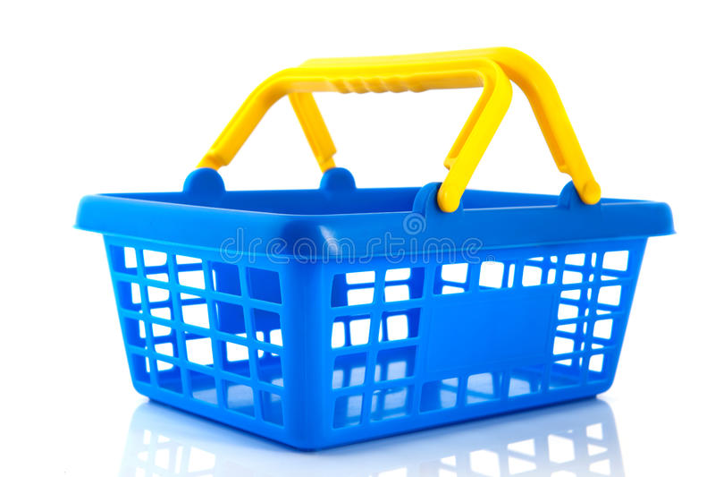 Blauer Einkaufskorb lizenzfreie stockbilder
