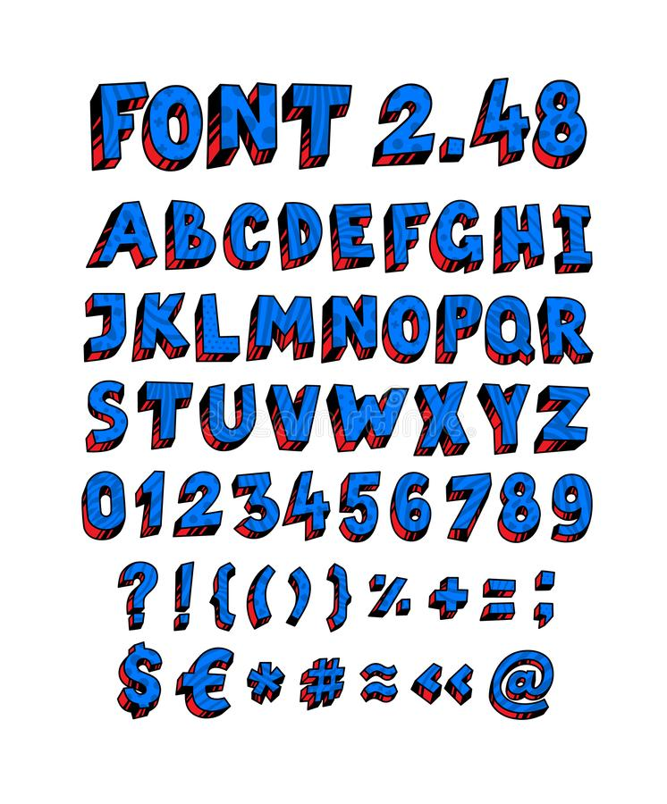 Blauer englischer Guss Vektor Linear, Konturnbuchstaben Volumetrische Zahlen, Symbole Guss für scharfsinnige Projektplanungen Gan stock abbildung