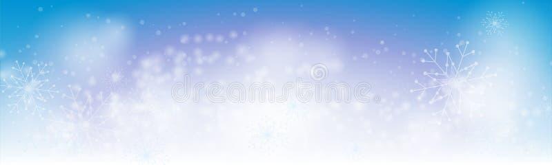 Blauer Fahnenhintergrund des Weihnachtswinters mit abstrakten Schneeflocken lizenzfreie abbildung
