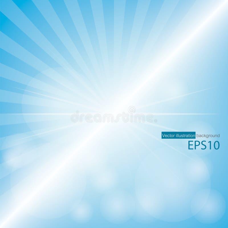 Blauer Farbhintergrund mit Sonnendurchbruch an der linken Seite für Beispieltext und editable Hintergrund lizenzfreie abbildung