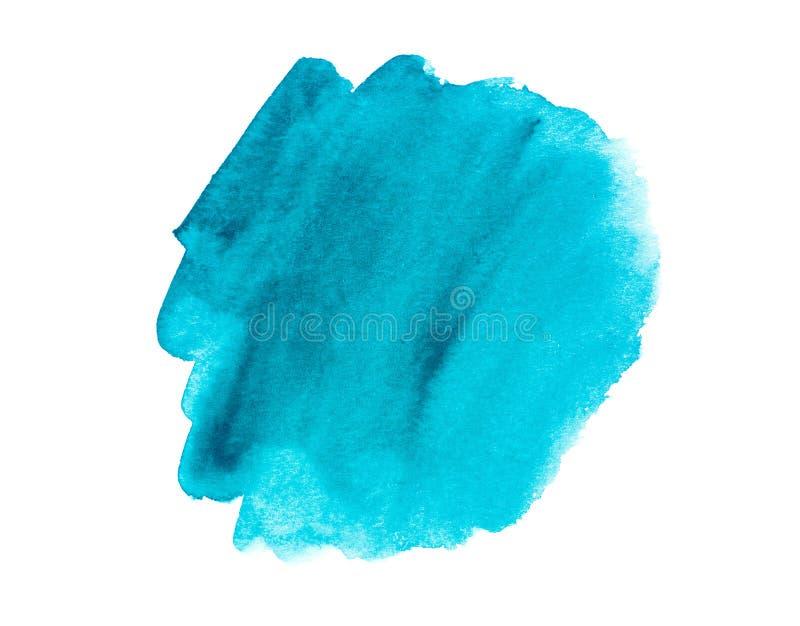 Blauer Fleck des abstrakten Aquarells lokalisiert auf weißem Hintergrund stockfotos