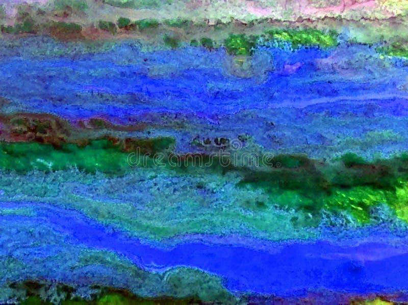 Blauer Fleck des grünen Lichtes der Aquarellkunsthintergrundzusammenfassung vektor abbildung