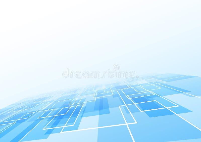 Blauer Fliesenlügen-Perspektivenhintergrund stock abbildung