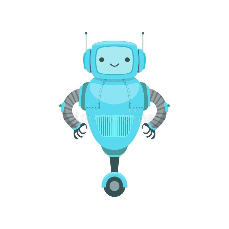 Blauer freundlicher Android-Roboter-Charakter mit zwei Antennen-Vektor-Karikatur-Illustration vektor abbildung