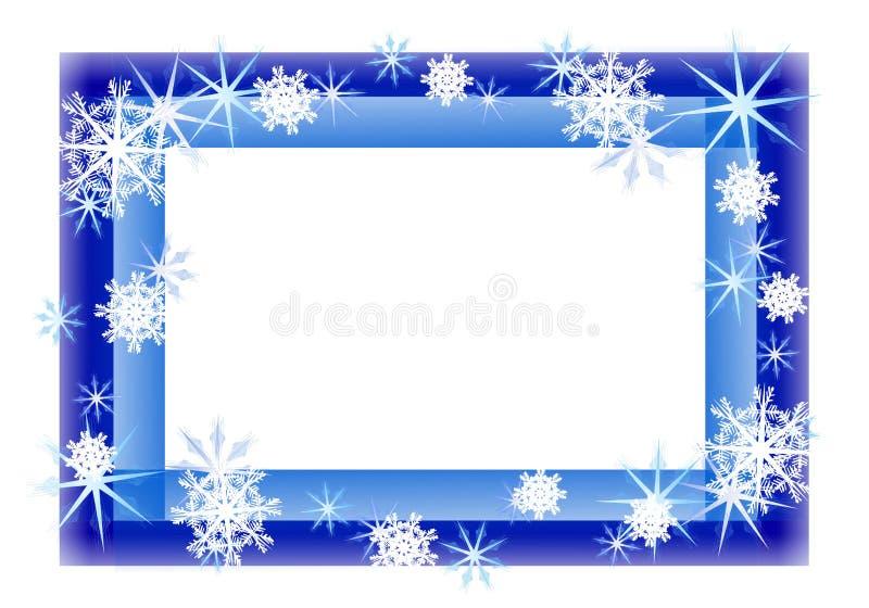 Blauer funkelnder Schneeflocke-Rand vektor abbildung