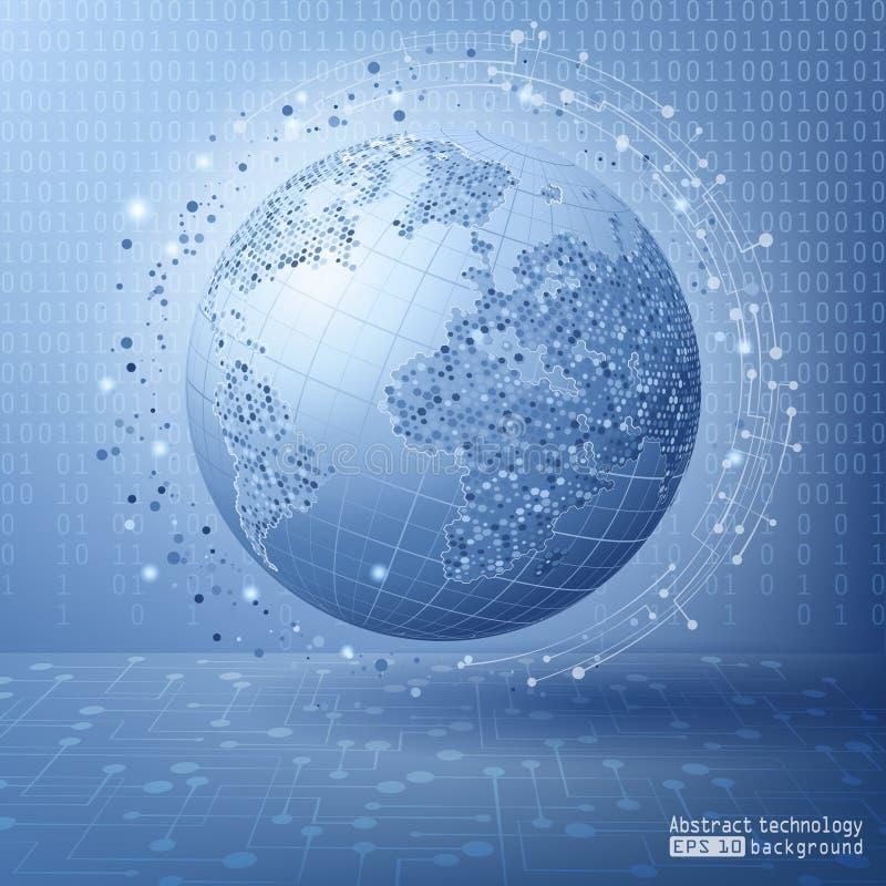 Blauer futuristischer Hintergrund mit Erde Globales soziales Netzwerk Internet und Technologie Virtuelle Realität vektor abbildung