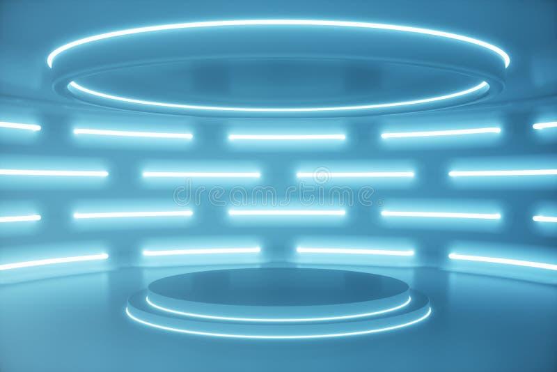 Blauer futuristischer Innenhintergrund, Sciencefictionsinnenraumkonzept Leerer Innenraum mit Illustration der Neonlichter 3D stockfotografie