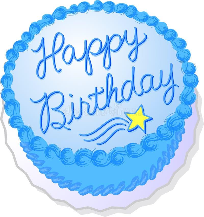 Blauer Geburtstag-Kuchen lizenzfreie abbildung