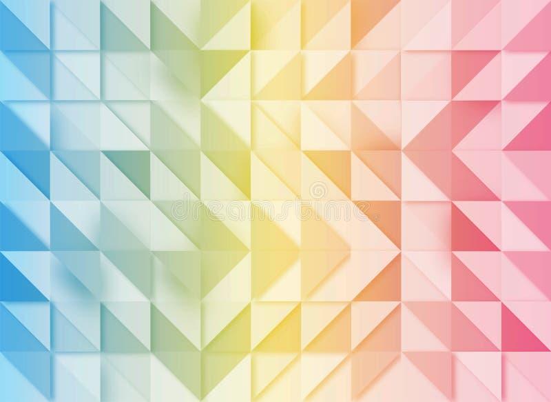 Blauer, gelber und rosa geometrischer Hintergrund mit Mosaik-Effekt stock abbildung