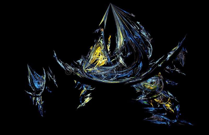Blauer Gelbgrün Fractal auf schwarzem Hintergrund Fantasie Fractalbeschaffenheit Tiefrote Rotation Digital-Art Wiedergabe 3d Comp stock abbildung