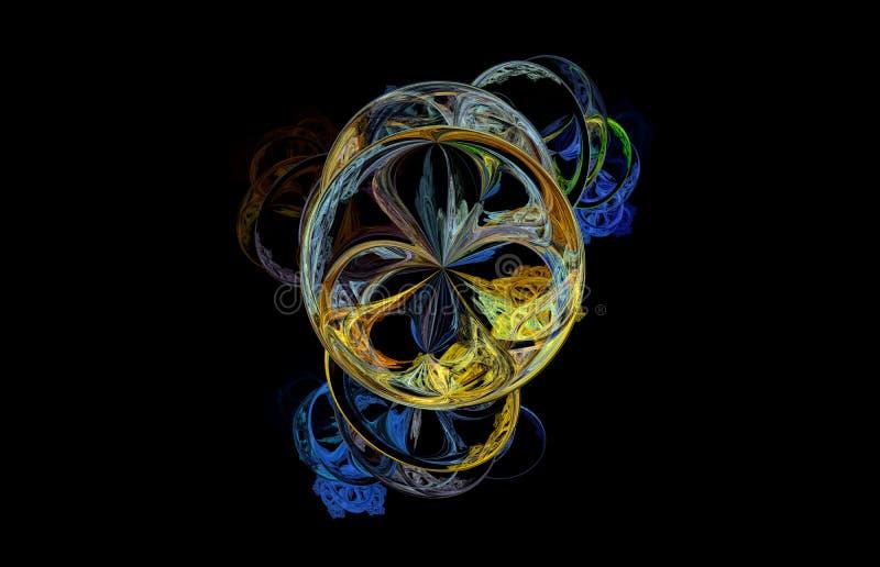 Blauer Gelbgrün Fractal auf schwarzem Hintergrund Fantasie Fractalbeschaffenheit Tiefrote Rotation Digital-Art Wiedergabe 3d Comp vektor abbildung