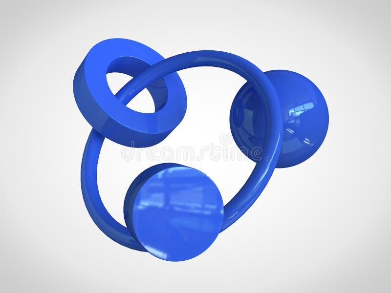 blauer geometrischer Formform-Ringbereich ringsum abstrakte Wiedergabe 3d lizenzfreie abbildung