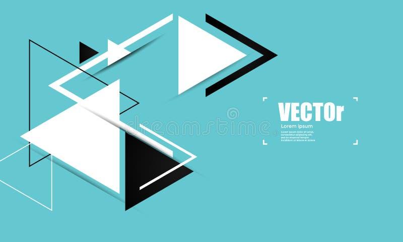Blauer geometrischer Vektorhintergrund der Zusammenfassung mit Dreiecken vektor abbildung