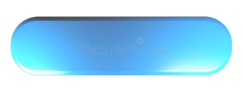 Blauer gerundeter Rechteckdruckknopf leer - Illustration der Wiedergabe 3D lizenzfreie abbildung