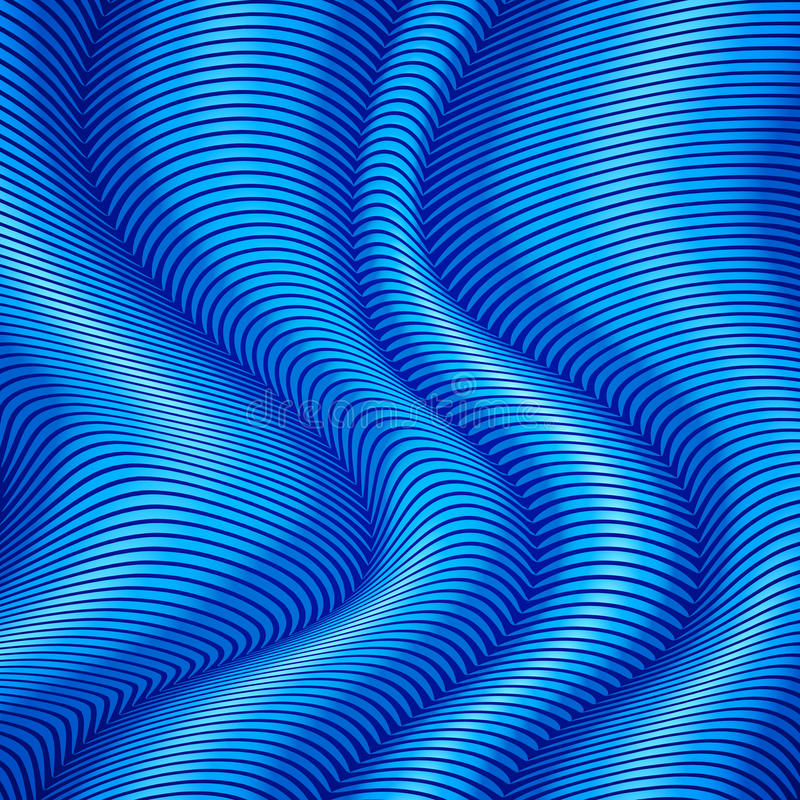 Blauer gestreifter Zusammenfassungshintergrund der Wellen 3d stock abbildung