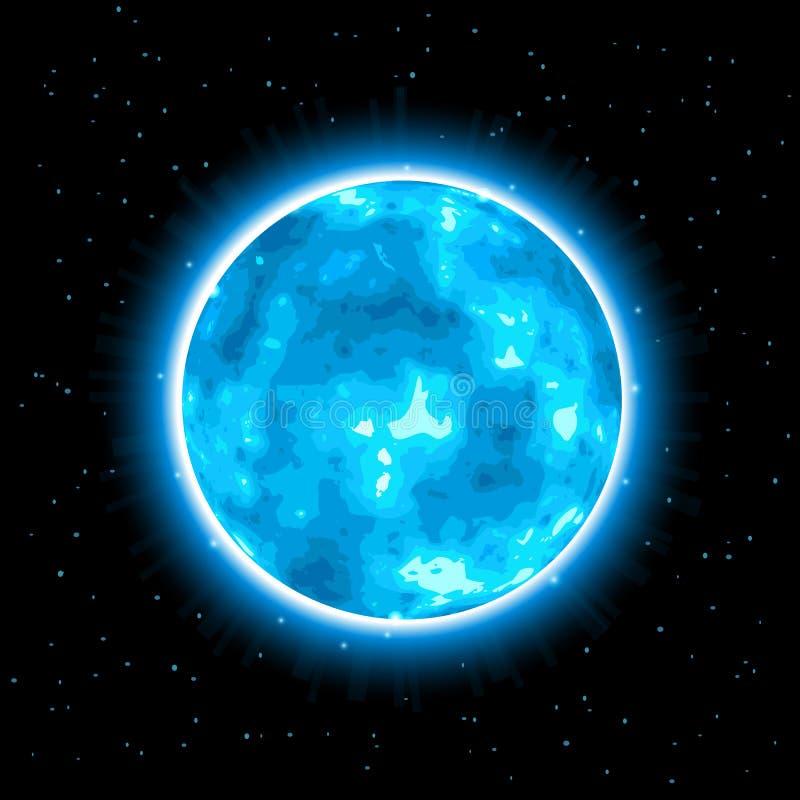 Blauer glänzender Planet mit Glühen vektor abbildung
