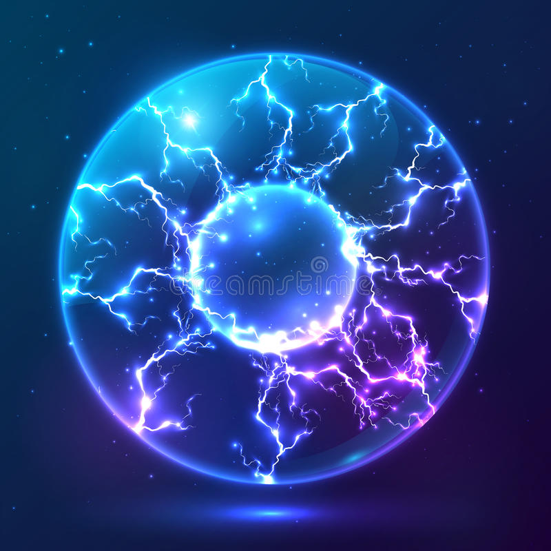 Blauer glänzender Vektorplasmaball stock abbildung