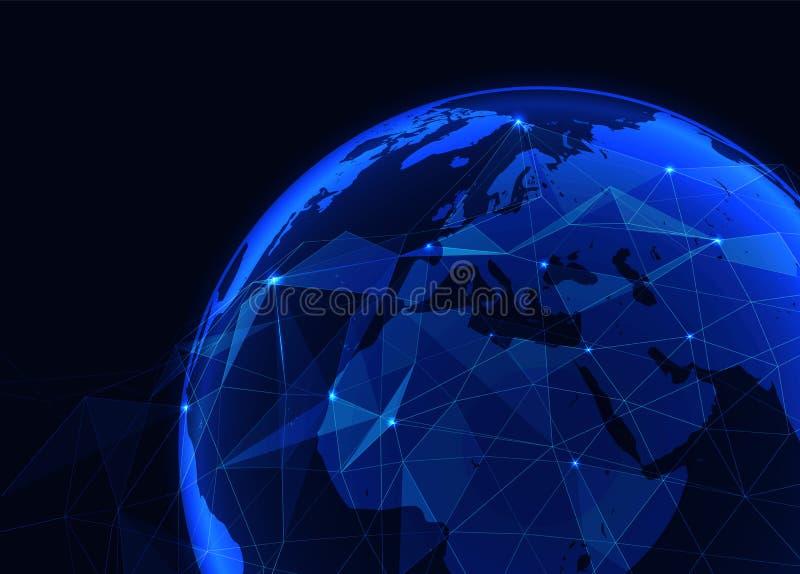 Blauer glühender Abschluss des Vektors Erdoben mit polygonalem Gitter und glänzenden Punkten - globales Verbindungskonzept des Ne lizenzfreie abbildung