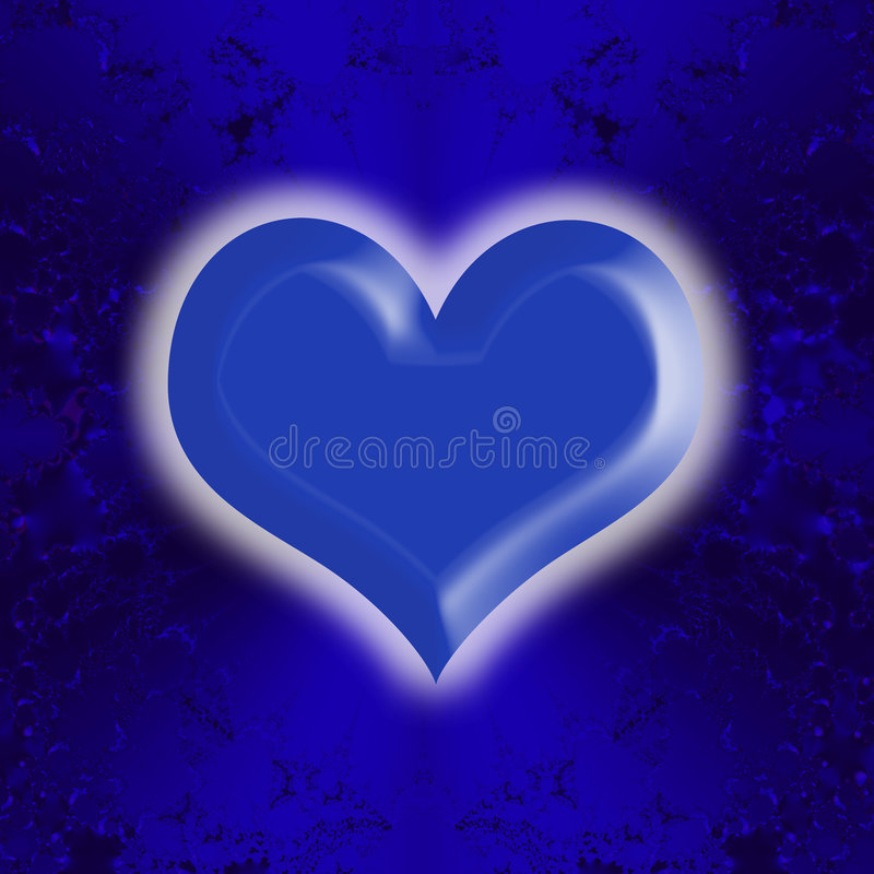 Blauer glühender Inner-Valentinsgruß vektor abbildung