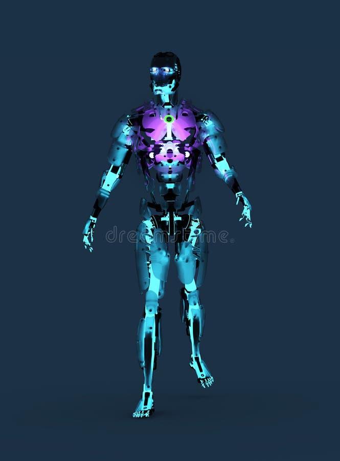 Blauer glühender Roboter vektor abbildung