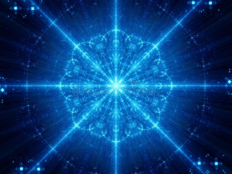 Blauer glühender Schneeflockenform-Mandala Fractal stock abbildung