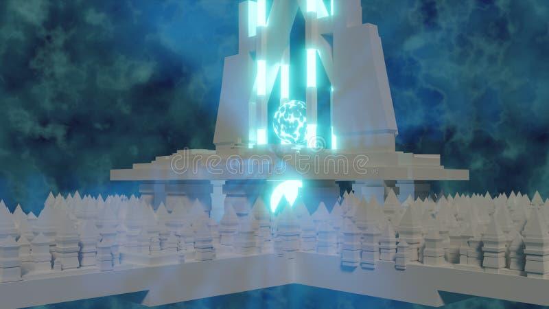 Blauer gl?hender Bereich von Energie im Hintergrund unter Wiedergabe des Tempelhintergrundes 3d lizenzfreie abbildung