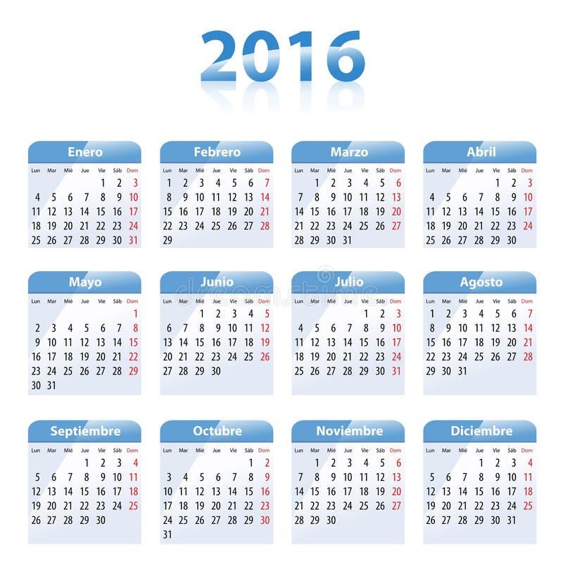 Blauer glatter Kalender für 2016 auf spanisch stock abbildung