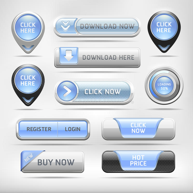 Blauer glatter Netz-Element-Knopf-Satz. stock abbildung