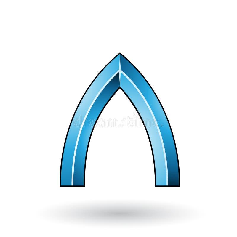 Blauer glatter prägeartiger Buchstabe A mit einem dunklen Anschlag lokalisiert auf einem weißen Hintergrund vektor abbildung