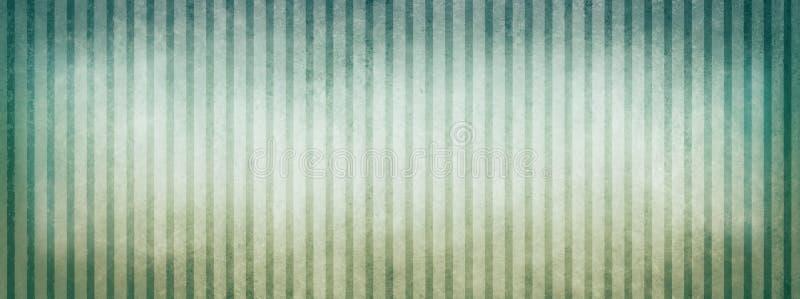Blauer Grün- und weißerbeige gestreifter Hintergrund mit Weinlesebeschaffenheitsdesign- und -vignettengrenzen stock abbildung