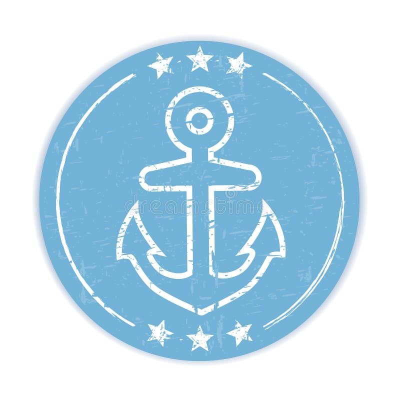 Blauer grungy Aufkleber mit Ankersymbol auf weißem Hintergrund stock abbildung
