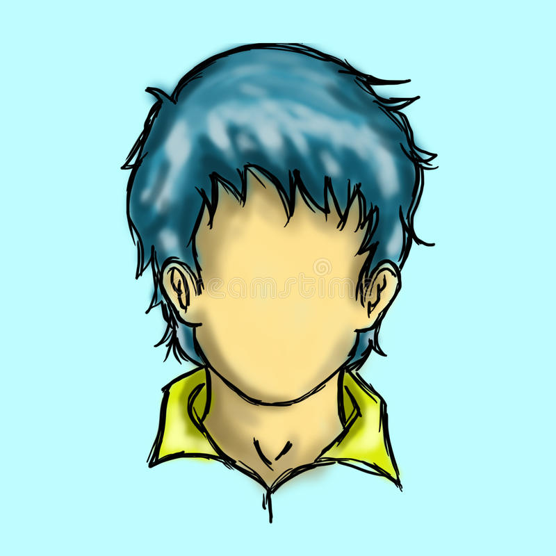 Blauer Haar-Charakter-Mann lizenzfreies stockbild