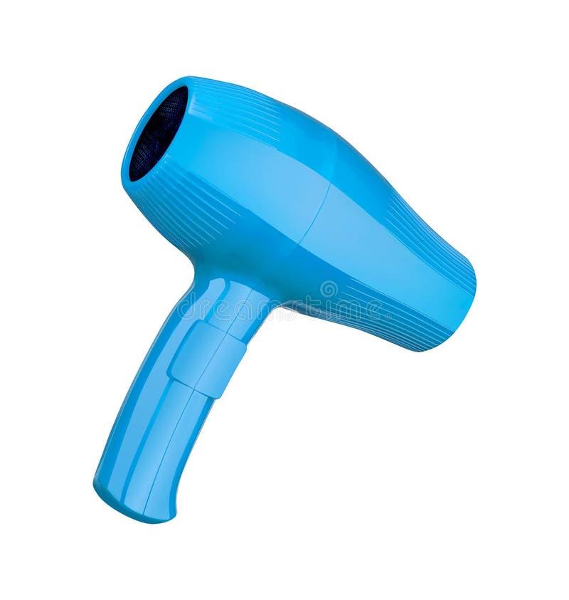 Blauer Haartrockner lokalisiert auf Weiß lizenzfreie stockfotografie