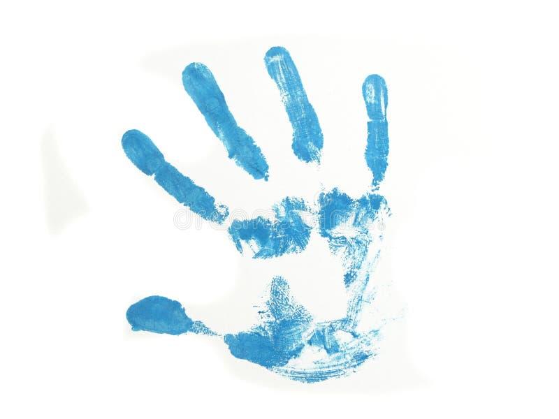 Blauer Handdruck getrennt über weißem Hintergrund lizenzfreies stockfoto