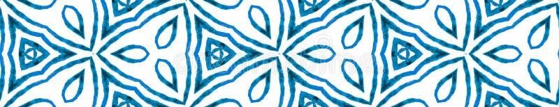 Blauer handgezeichneter Seamless Border Scroll Geometrisches W stock abbildung