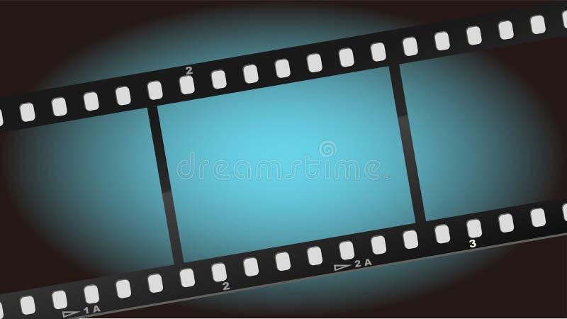 Blauer heller Hintergrund des Filmfilmes stock abbildung