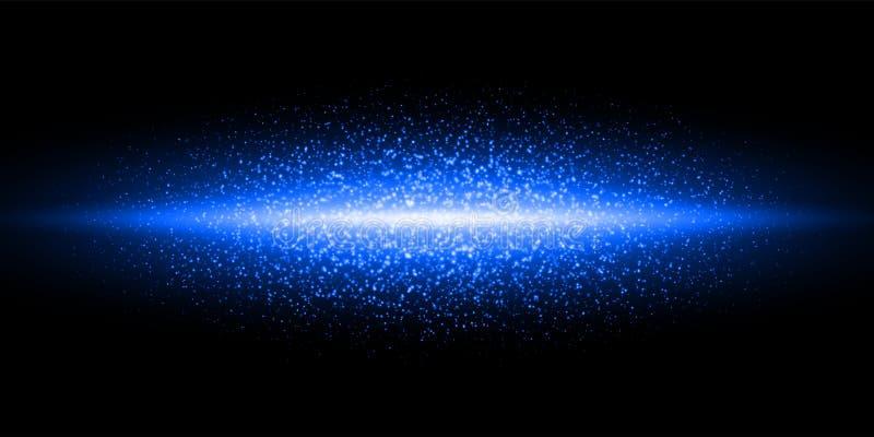 Blauer heller Neonblitz, Funkelnstaubteilchen-Explosionshintergrund Schimmer-Aufflackernglühen des Vektors blaues, magische funke lizenzfreie abbildung