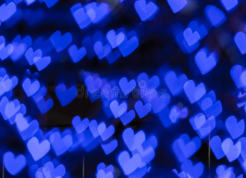 Blauer Herzen bokeh Hintergrund, abstraktes bokeh lizenzfreies stockfoto