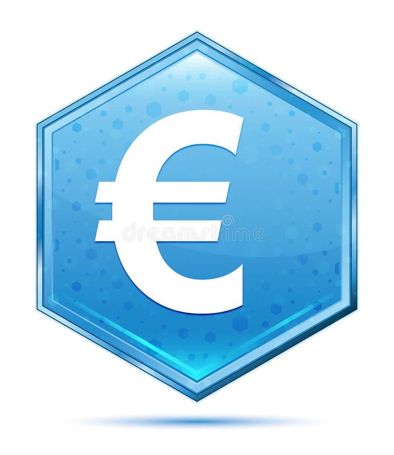 Blauer Hexagonkristallknopf der Eurozeichenikone stock abbildung