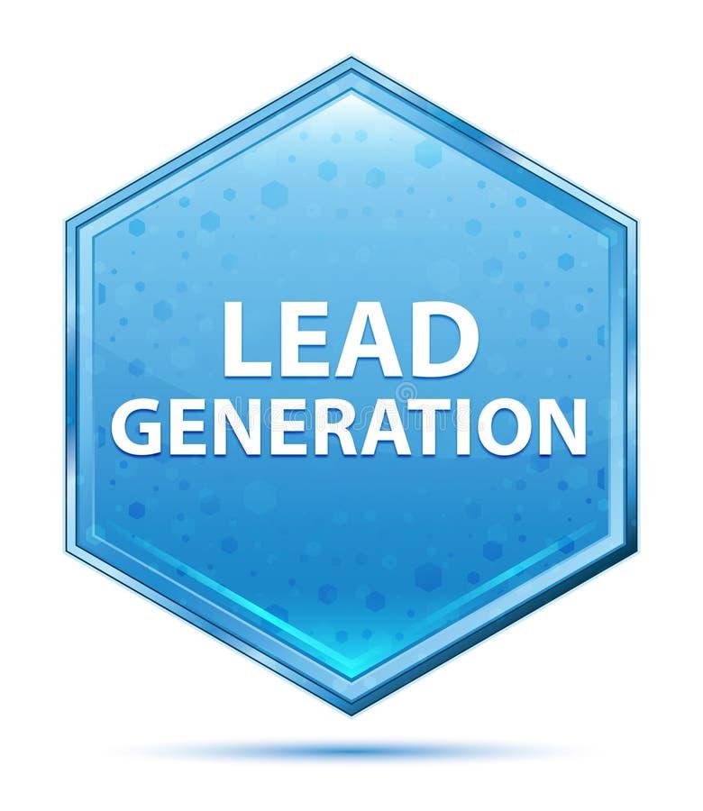 Blauer Hexagonkristallknopf der Führungs-Generation vektor abbildung